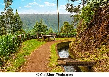Along the Levada, Madeira - Madeira, hiking along irrigation...