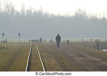 Along the railroad track