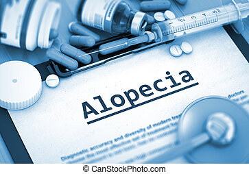 Alopecia Diagnosis. Medical Concept. 3D Render. - Diagnosis...