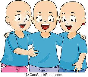 alopecia, gyerekek, lány, ábra