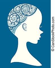 alopecia, leány, árnykép, ábra