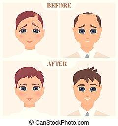 alopecia, női, poster., hím, orvosi, nevelési, set., motívum