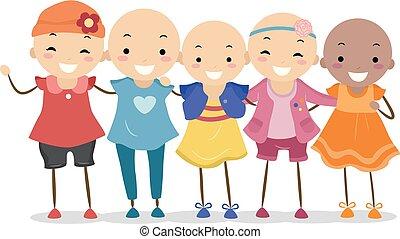 alopecia, stickman, bambini, ragazze, illustrazione