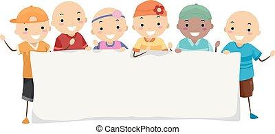 alopecia, stickman, dzieciaki, chorągiew, ilustracja