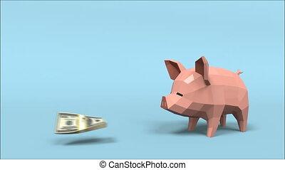 alors, animation, mouvement, argent, monnaie, or, bas, rendering., 3d, tirelire, traction, dehors, bouche, cochon