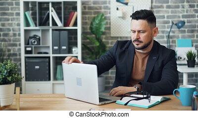 alors, bureau, fonctionnement, fatigué, ordinateur portable, reposer, dormir, bureau, homme affaires