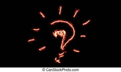 alors, dessine, brûlé, lumière, idée, flamme, ampoule