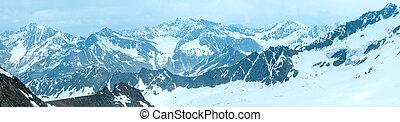 View from the Karlesjoch mount (3108m., near Kaunertal Gletscher on Austria-Italy border). Panorama.