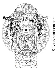 adult coloring page - alpaca with splendid headwear