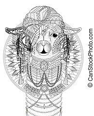 alpaca adult coloring page - adult coloring page - alpaca ...