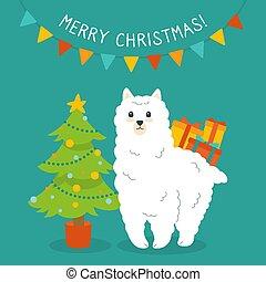 Alpaca and Christmas tree, greeting cartoon card
