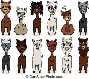 Alpaca cartoon vector set