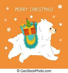 Alpaca christmas greeting card boxes gifts vector