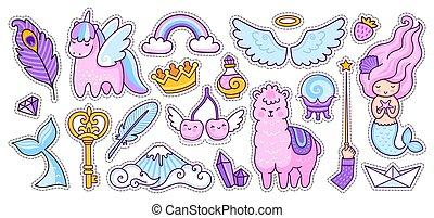 alpaca, ciliegia, sirena, set, unicorno, style., wings., cartone animato, grande, scarabocchiare, arcobaleno