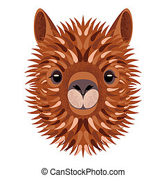 Alpaca face. Vector illustration. Geometric style. Grunge effects. Isolated on white background. Animal from Peru. For manufacturers and sellers of wool, yarn, fabrics, blankets and clothing