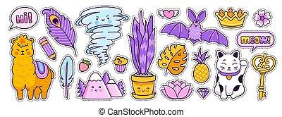 alpaca, key., tornado, style., cartone animato, pipistrello, dorato, maneki-neko, corona, scarabocchiare, divertente