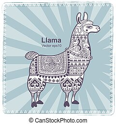 Alpaca Llama animal with ethnic ornaments - Vector cute...