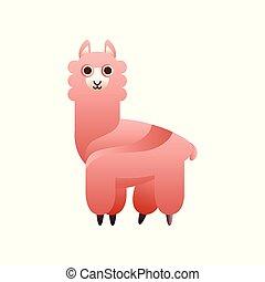 Alpaca stylized geometric animal low poly design vector Illustration