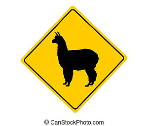 Alpaca warning sign