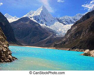 alpamayo, lago azul, montaña