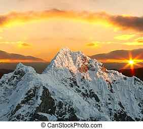 Alpamayo peak on sunset - Alpamayo peak in Cordilleras...