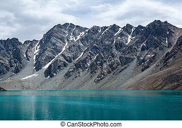 alpejski, kyrgyzstan, cudowny, ala-kul, jezioro