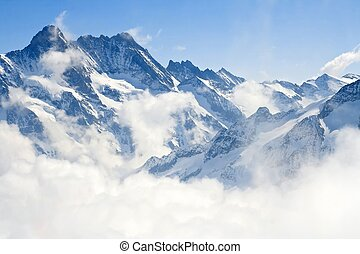 alpen, berg, jungfraujoch, landscape