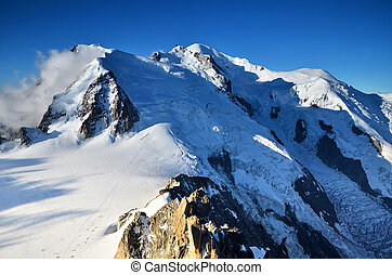 alpen, bergen, blanc, bovenzijde, mont, europa