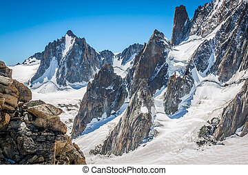 alpen, chamonix., midi, aiguille, du, aanzicht