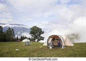 alpen, hoog, plek, franse , tentjes