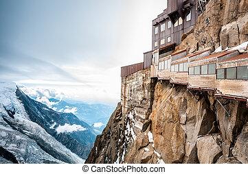 alpen, midi, aiguille, du, mountain., aanzicht