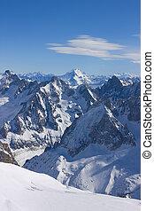 alpen, midi, aiguille, piek, du, aanzicht