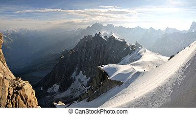 alpen, midi, europeaan, groot, aiguille, piek, du, aanzicht