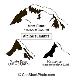 alpen, set, silhouette, pieken, elements., mont blanc