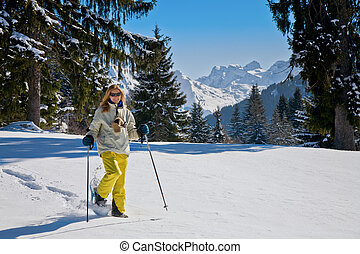 alpen, vrouw, snowshoeing