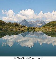 alpen, zomer, meer, scène, zwitsers, trubsee