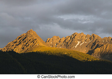 Alpenglow near Nauders, Austria - Colorful Alpenglow in the...