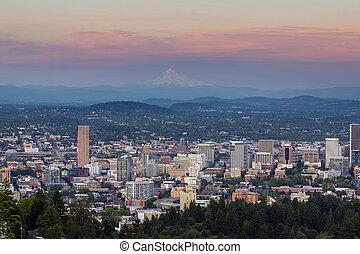 Alpenglow over Portland Oregon Cityscape