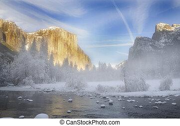 alpenglow, sur, les, granit, crêtes, dans, vallée yosémite