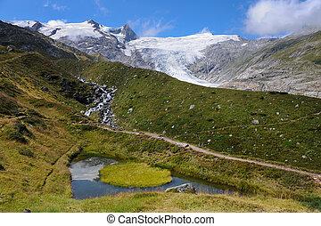 alperna, sommar, glaciär, (grossvenediger), damm, liten,...