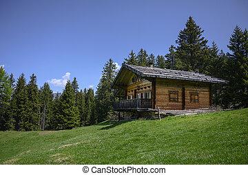 alperne, blå, chalet, eng, træagtigt hus, himmel, grønne, kabine, italiensk