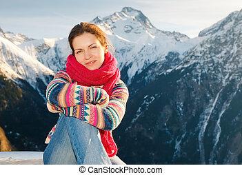 alperne, pige, vinter, holdning