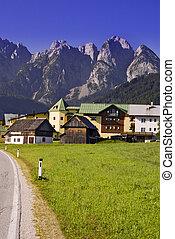 alpes, austríaco, aldea