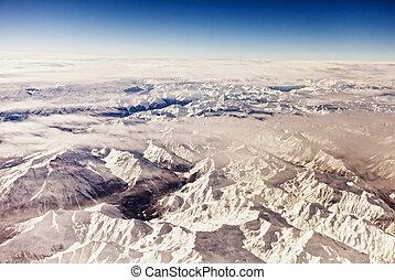alpes, autrichien, aérien, vue