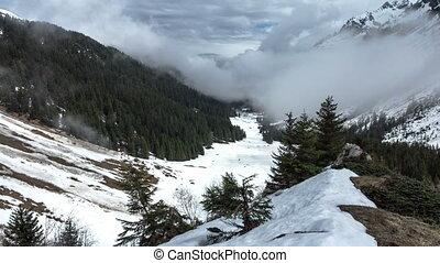 alpes, chronocinématographie, montagnes., nuages, mouvement