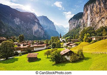 alpes, chute eau, vallée, alpin, lauterbrunnen, majestueux, village., suisse, europe., staubbach, vue