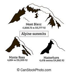alpes, conjunto, silueta, picos, elements., mont blanc