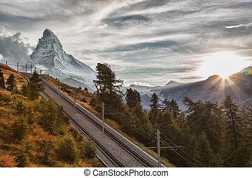 alpes, contre, suisse, coucher soleil, pic, suisse, ferroviaire, matterhorn