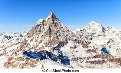 alpes, esquiando, inverno, italiano