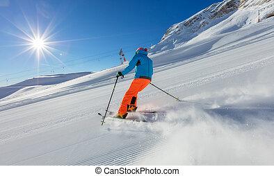 alpes, homme, descendant, jeune, ski